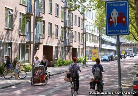Dutch cycling street - cars are guests